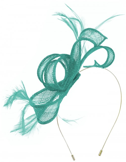 Max and Ellie Sinamay Fascinator in Turquoise