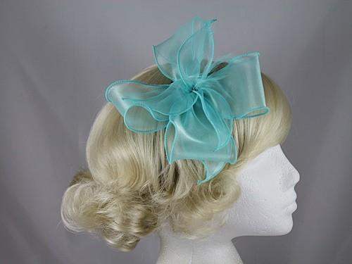 0e63915da894 Wedding Hats 4U - Molly and Rose Organza Fascinator in Turquoise
