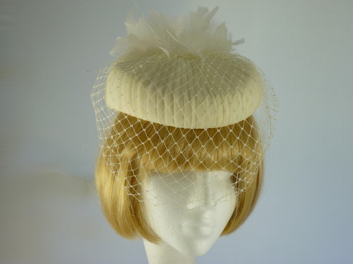 Wedding hat Pale Cream and White