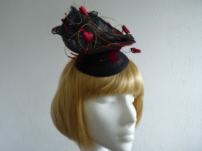 Headpiece Black and Red Hearts