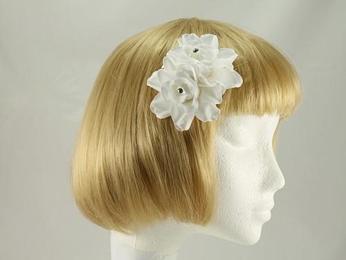 White Diamante Rose Clip