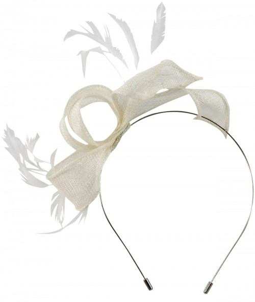 Max and Ellie Sinamay Fascinator in White