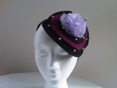 Designs by Cheryl Durrant Headpiece in Black Multi with beads