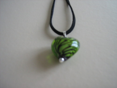 Green lampwork heart necklace
