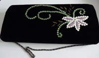 Bag Black Faux velvet Patterned