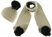 Zelly Detachable Bobble Beanie Hat with Matching Scarf