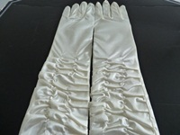 Wedding Gloves Ivory Ruched