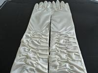 Wedding Gloves Ivory Ruched