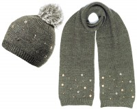 Alice Hannah Allie Sparkly Stars Bobble Hat with Matching Scarf