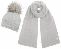Alice Hannah Knitted Bobble Ski Hat with Matching Scarf