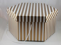 Medium Gold and White Hat Box
