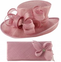 Elegance Collection Events Hat with Matching Sinamay Diamante Bag