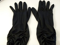 Wedding Gloves Black ruched