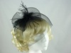 Feather and Veil Fascinator in Black