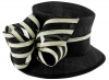 Hawkins Collection Ivory Stripes Wedding Hat in Black & Ivory