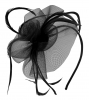 Aurora Collection Swirl & Biots Fascinator on aliceband in Black