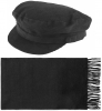 Failsworth Millinery Mariner Cord Cap with Matching Lambswool Scarf in Black