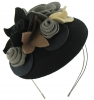 Max and Ellie Felt Bouquet Pillbox Headpiece in Black