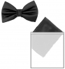 Max and Ellie Mens Bow Tie and Pocket Square Set in Black
