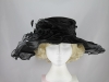 Wide Brimmed Rosette Organza Hat in Black