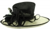 Hawkins Collection Wide Brim Ascot Hat in Black and White