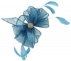 Elegance Collection Small Clip Diamante Fascinator in Bluebell
