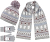 Boardman Snow Bobble Hat with Matching Scarf and Gloves