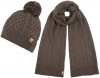 Boardman Bobble Ski Hat with Matching Cable Knit Scarf in Brown