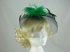 Bright Feather & Veil Fascinator in Black & Green