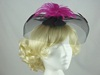 Bright Feather & Veil Fascinator in Black & Bright pink