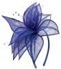 Elegance Collection Sinamay Leaf Fascinator in Cobalt