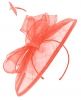 Failsworth Millinery Sinamay Disc Headpiece in Coral (SS19)