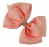 Molly and Rose Large Diamante Hair Bow in Coral