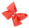 Molly and Rose Medium Diamante Hair Bow in Coral