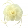 Aurora Collection Swirl & Biots Fascinator on clip in Cream