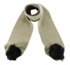 Zelly Detachable Bobble Scarf in Cream