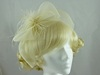 Feather and Veil Fascinator in Cream