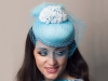 Deb Fanning Millinery Blue Feathered and Veiled Pillbox Hat