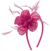 Elegance Collection Diamante Flower Fascinator in Fuchsia