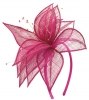 Elegance Collection Sinamay Leaf Fascinator in Fuchsia