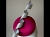 Esther Louise Millinery Corkscrew Silk Button in Fuchsia & Silver
