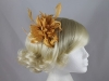 Aurora Collection Flower with Biots Comb Fascinator in Gold