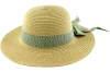 Hawkins Collection Straw Hat with Pinstripe Band in Green