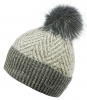 Alice Hannah Alesha Chevron Multi Colour Bobble Hat in Grey