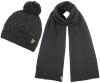 Boardman Bobble Ski Hat with Matching Cable Knit Scarf in Grey