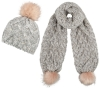 Boardman Sparkle Bobble Ski Hat with Matching Scarf in Grey