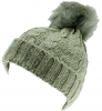 SSP Hats Ladies Cable Knit Bobble Hat in Grey