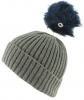 Zelly Detachable Bobble Beanie Hat in Grey