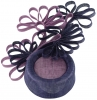 Failsworth Millinery Ascot Pillbox Headpiece in Indigo & Orchid