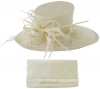 Max and Ellie Events Hat with Matching Large Occasion Bag in Ivory